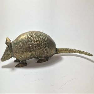 Vintage Solid Brass Armadillo Figurine Eclectic